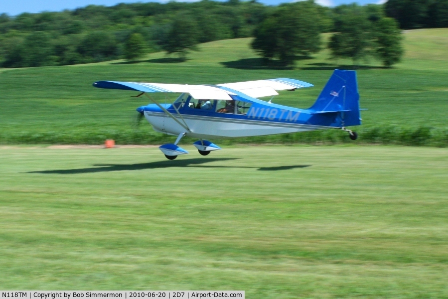 N118TM, 2000 American Champion Aircraft 7GCBC C/N 1303-2000, Arriving at the Father's Day breakfast fly-in, Beach City, Ohio.