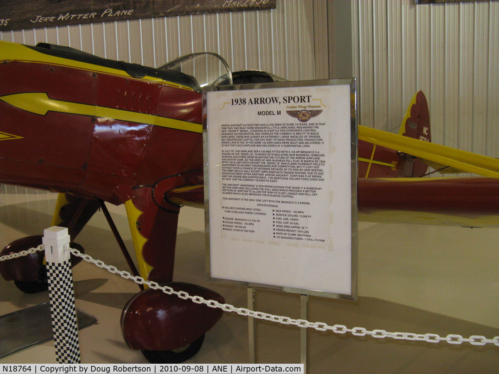 N18764, 1938 Arrow Sport M C/N 105, 1938 Arrow Aircraft and Motor ARROW SPORT M, Menasco PIRATE C4 D4 125 Hp, Experimental class, at Golden Wings Museum