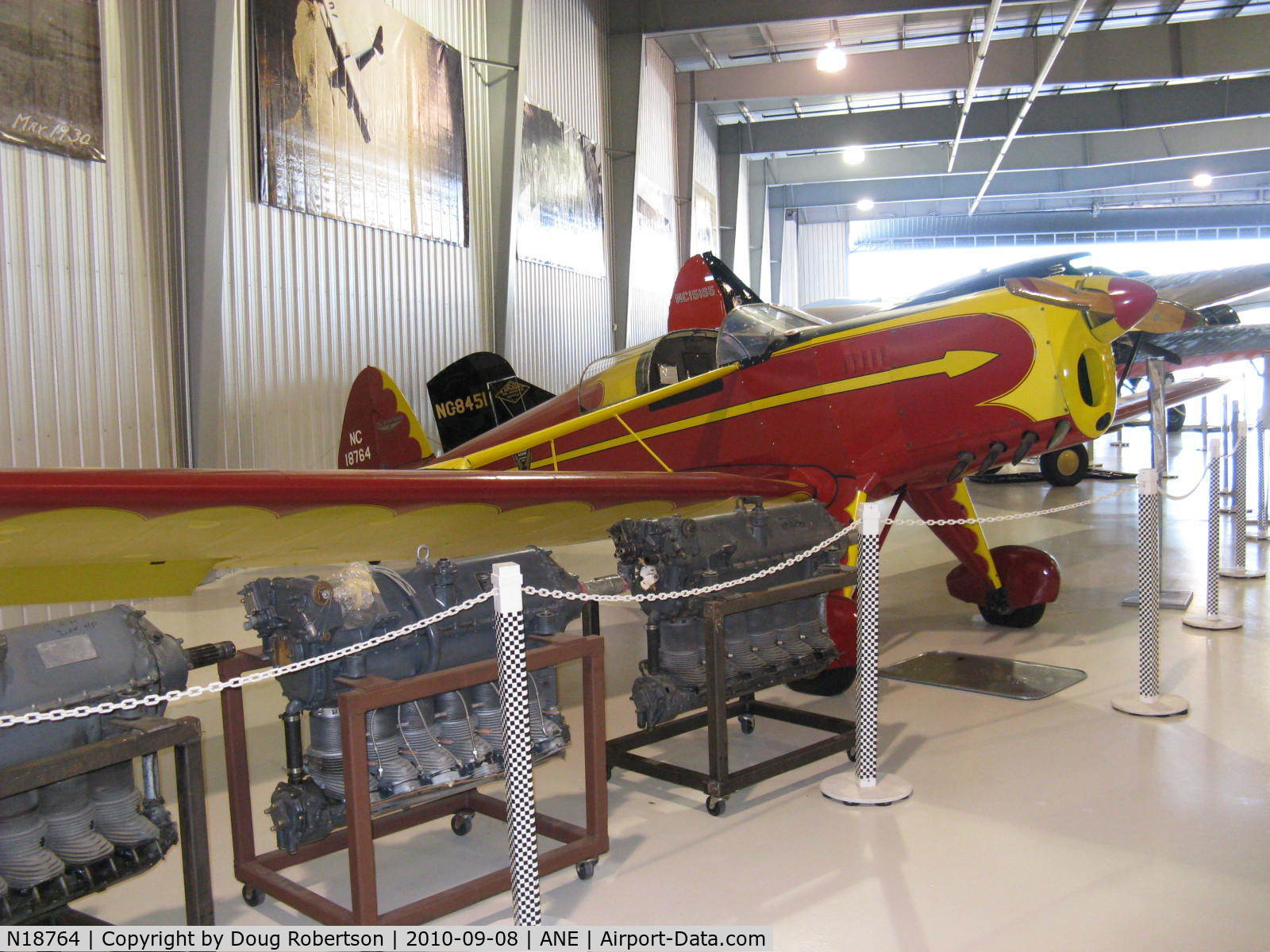 N18764, 1938 Arrow Sport M C/N 105, 1938 Arrow Aircraft and Motor ARROW SPORT M, Menasco PIRATE C4 D4 125 Hp, sole remaining example with Menasco engine. Experimental class. At Golden Wings Museum.