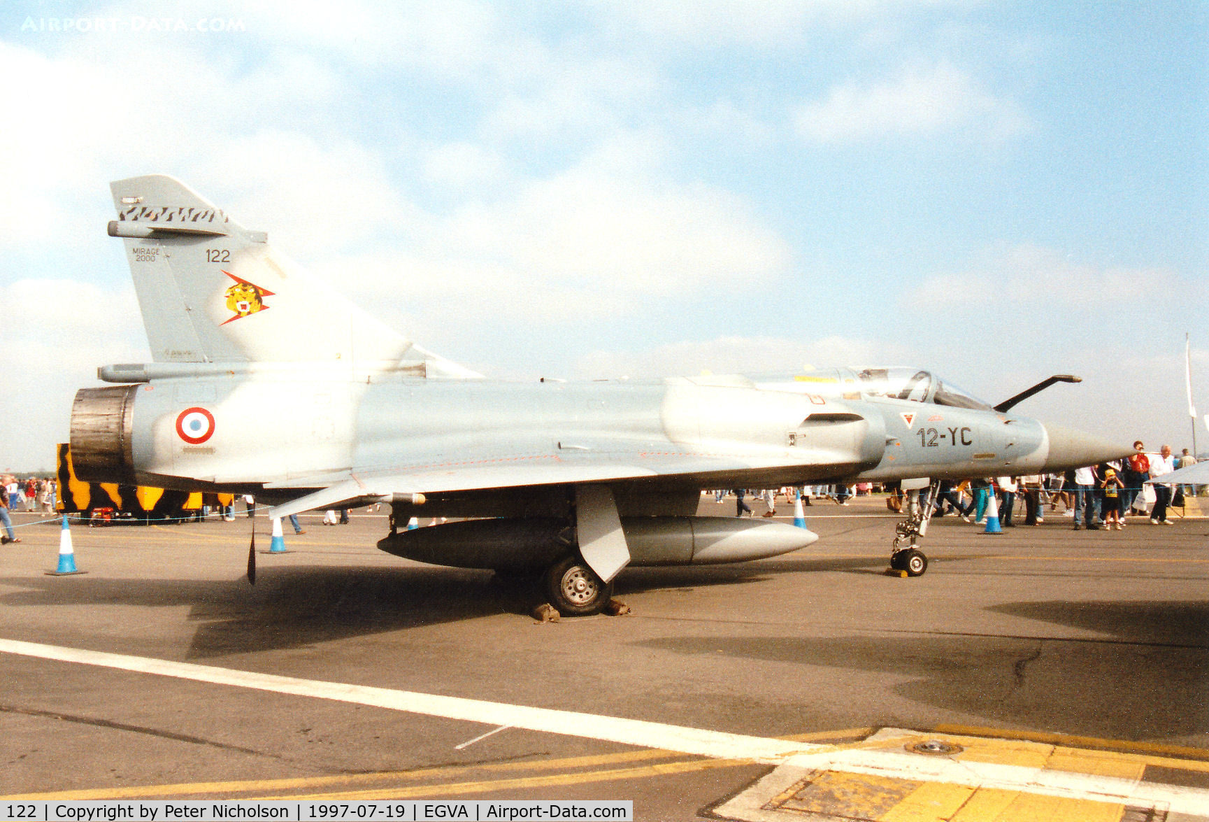 122, Dassault Mirage 2000C C/N 405, Mirage 2000C, callsign French Air Force 7600, of EC 01.012 on display at the 1997 Intnl Air Tattoo at RAF Fairford.