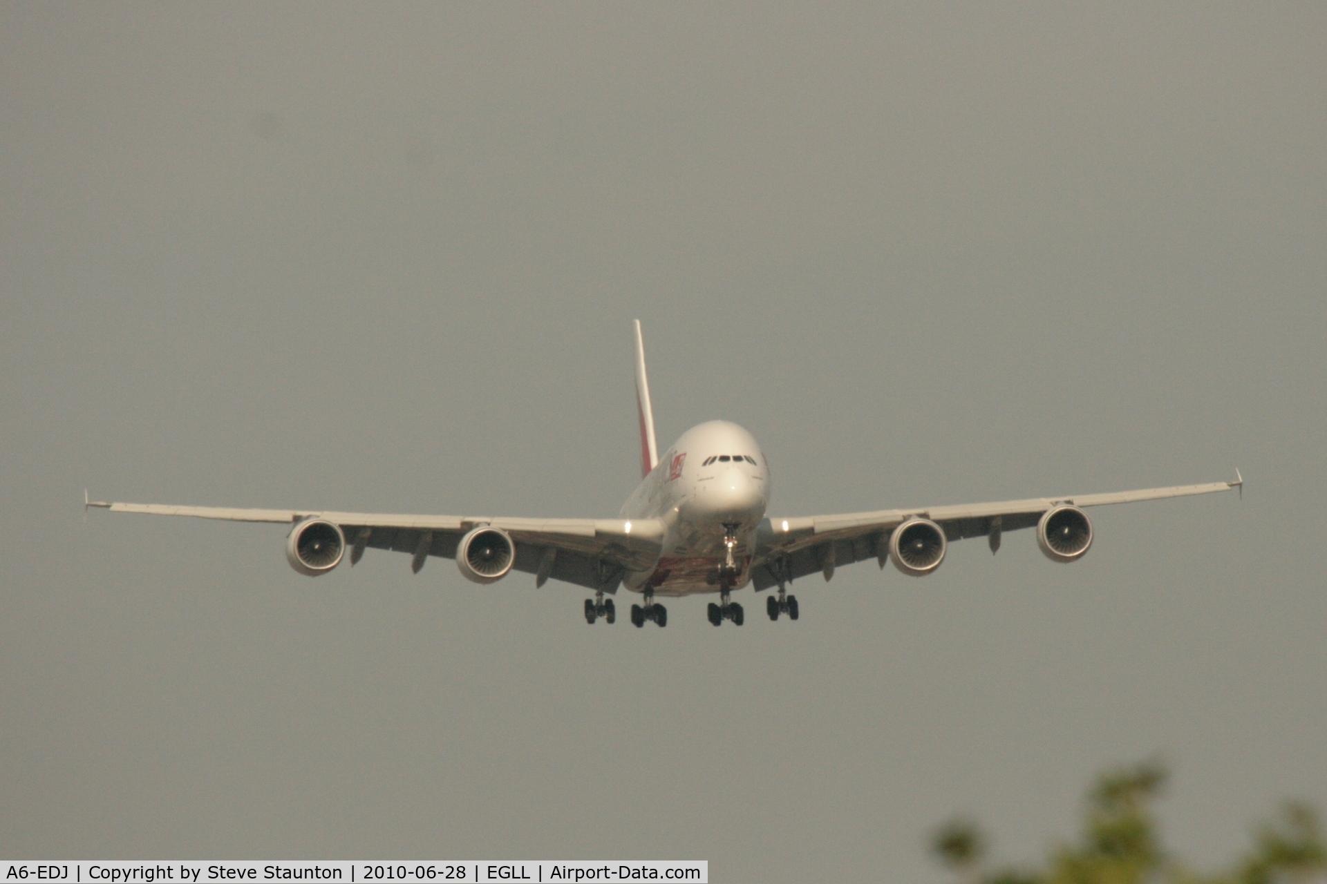A6-EDJ, 2006 Airbus A380-861 C/N 009, Taken at Heathrow Airport, June 2010