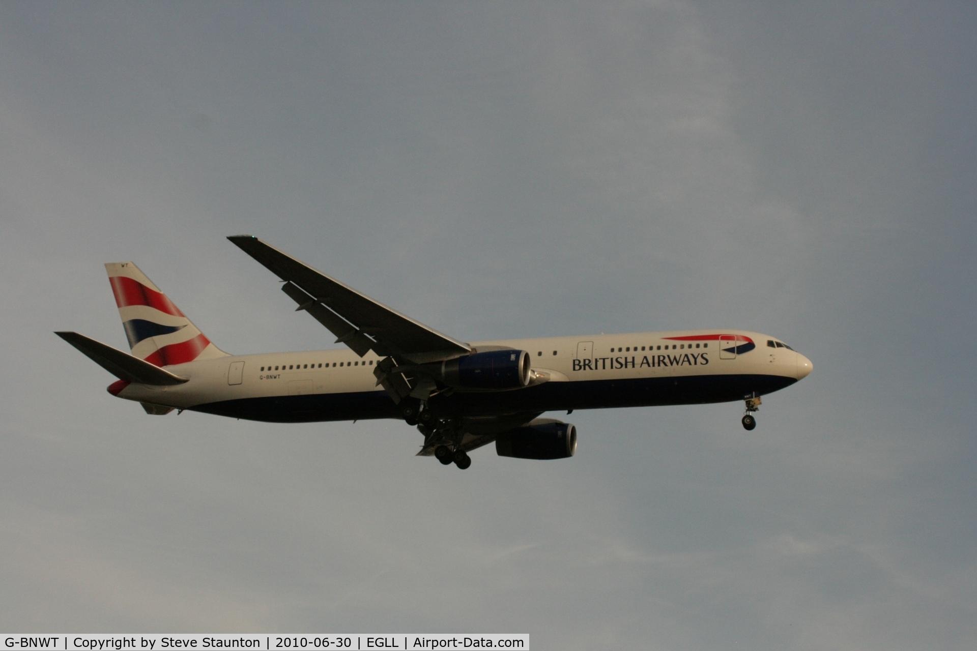 G-BNWT, 1992 Boeing 767-336 C/N 25828, Taken at Heathrow Airport, June 2010