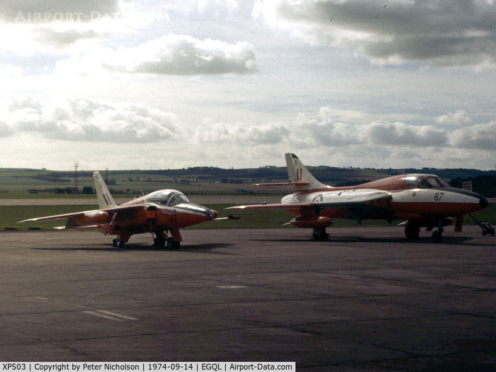 XP503, 1962 Hawker Siddeley Gnat T.1 C/N FL518, Gnat T.1 of 4 Flying Training School at RAF Valley alongside Hunter T.7 XL597 from the same unit on display at the 1974 RAF Leuchars Airshow.