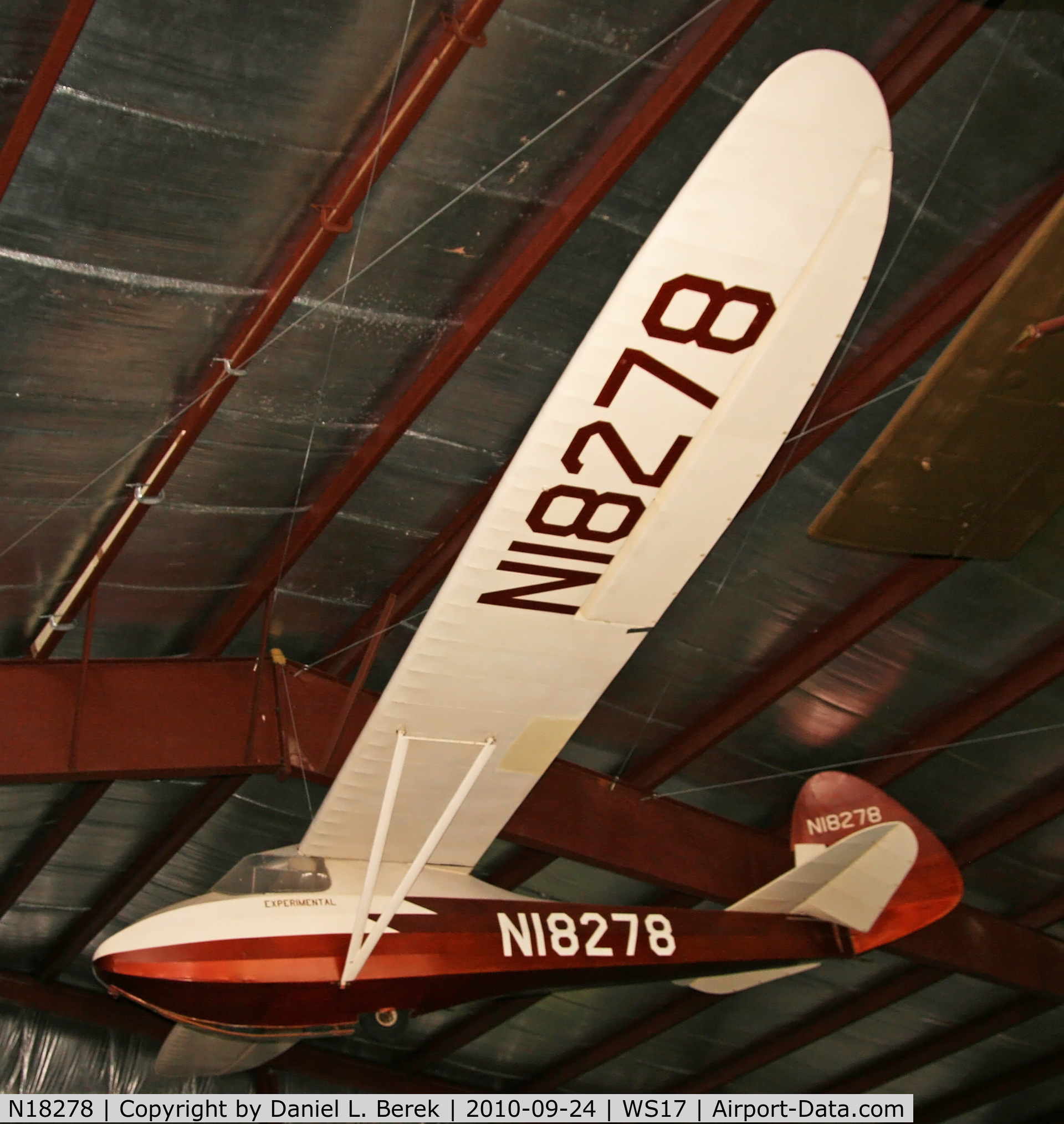 N18278, 1939 Haufe Dale HAWK 2 C/N 100, Built in 1939, this remarkable glider completed an amazing nine-hour flight over High Cliff, Neenah, WI.