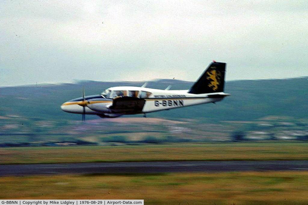 G-BBNN, 1971 Piper PA-23-250 Aztec C/N 27-4172, Low pass at Avon Air Spectacular & Car Auto Test, Weston Airport 29-30 August 1976