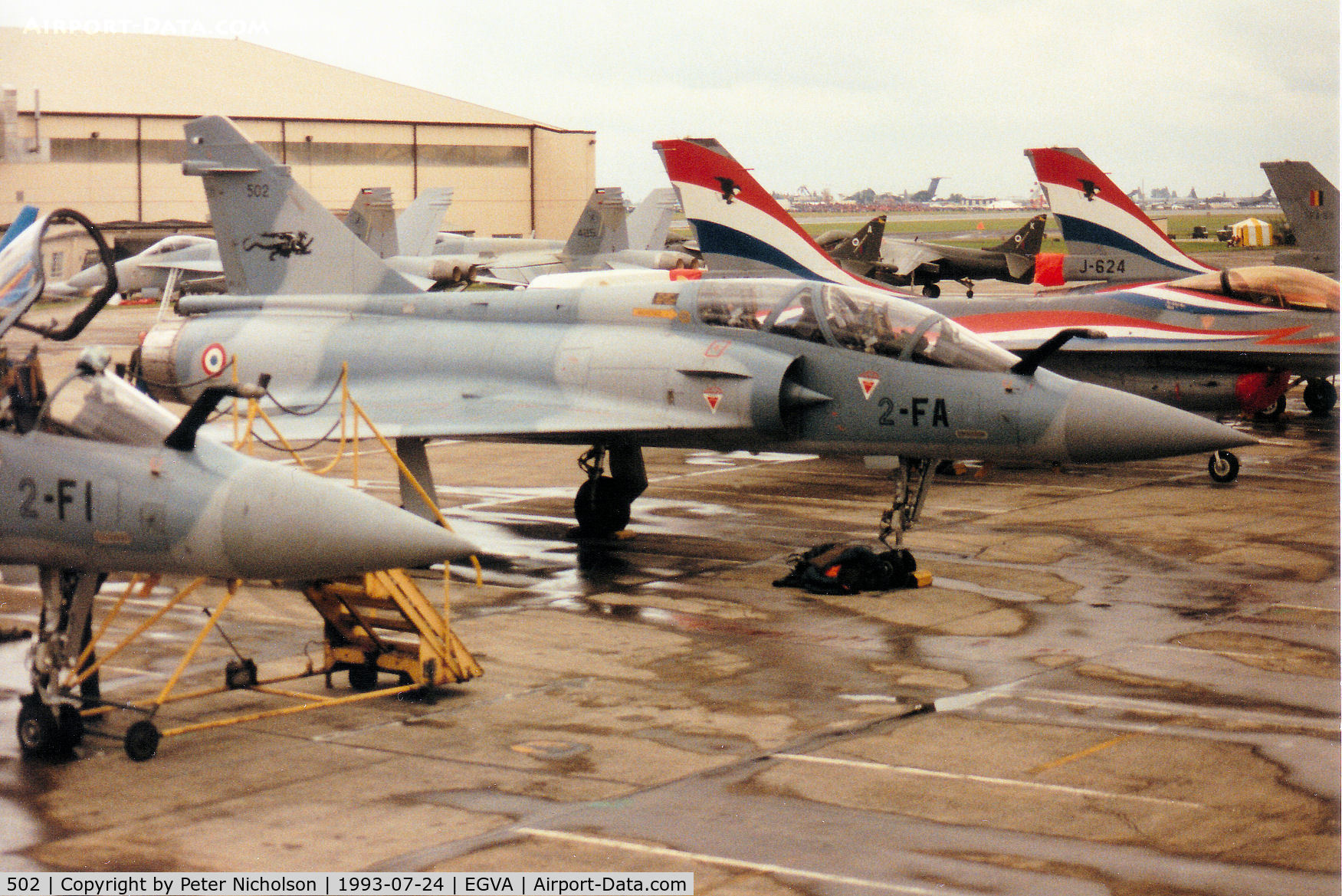 502, 1984 Dassault Mirage 2000B C/N 19, Mirage 2000B, callsign French Air Force 4200, of EC 2/2 on the flight-line at the 1993 Intnl Air Tattoo at RAF Fairford.