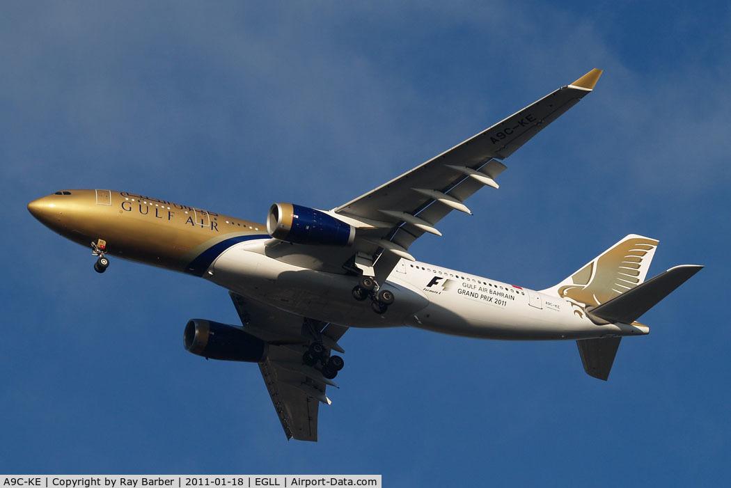 A9C-KE, 2000 Airbus A330-243 C/N 334, Airbus A330-243 [334] (Gulf Air) Home~G 18/01/2011. Wearing F1 2011 titles.