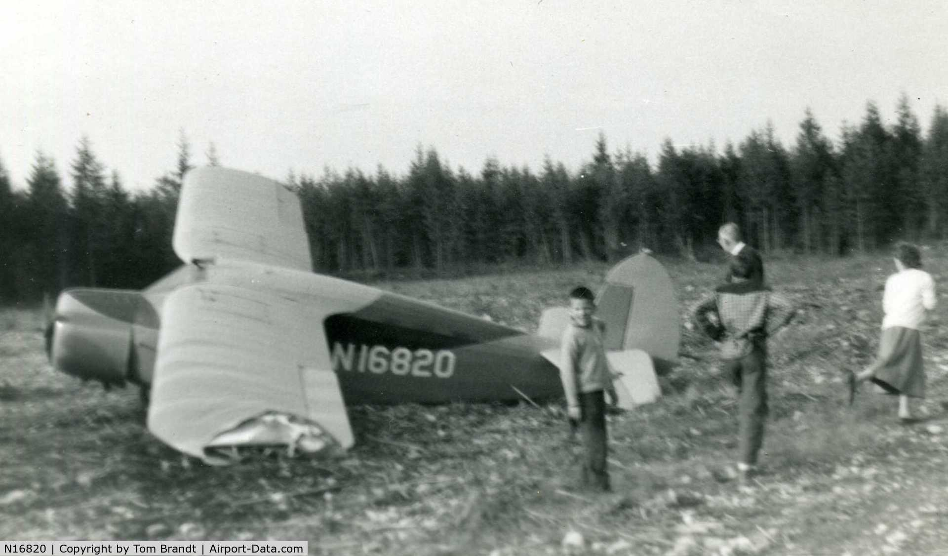 N16820, 1936 Fairchild 24 C8E C/N 2830, N16820 after a crash.