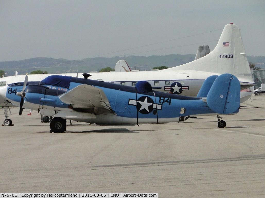 N7670C, 1957 Lockheed PV-2 Harpoon C/N 15-1438 (Bu37472), Parked at the hanger