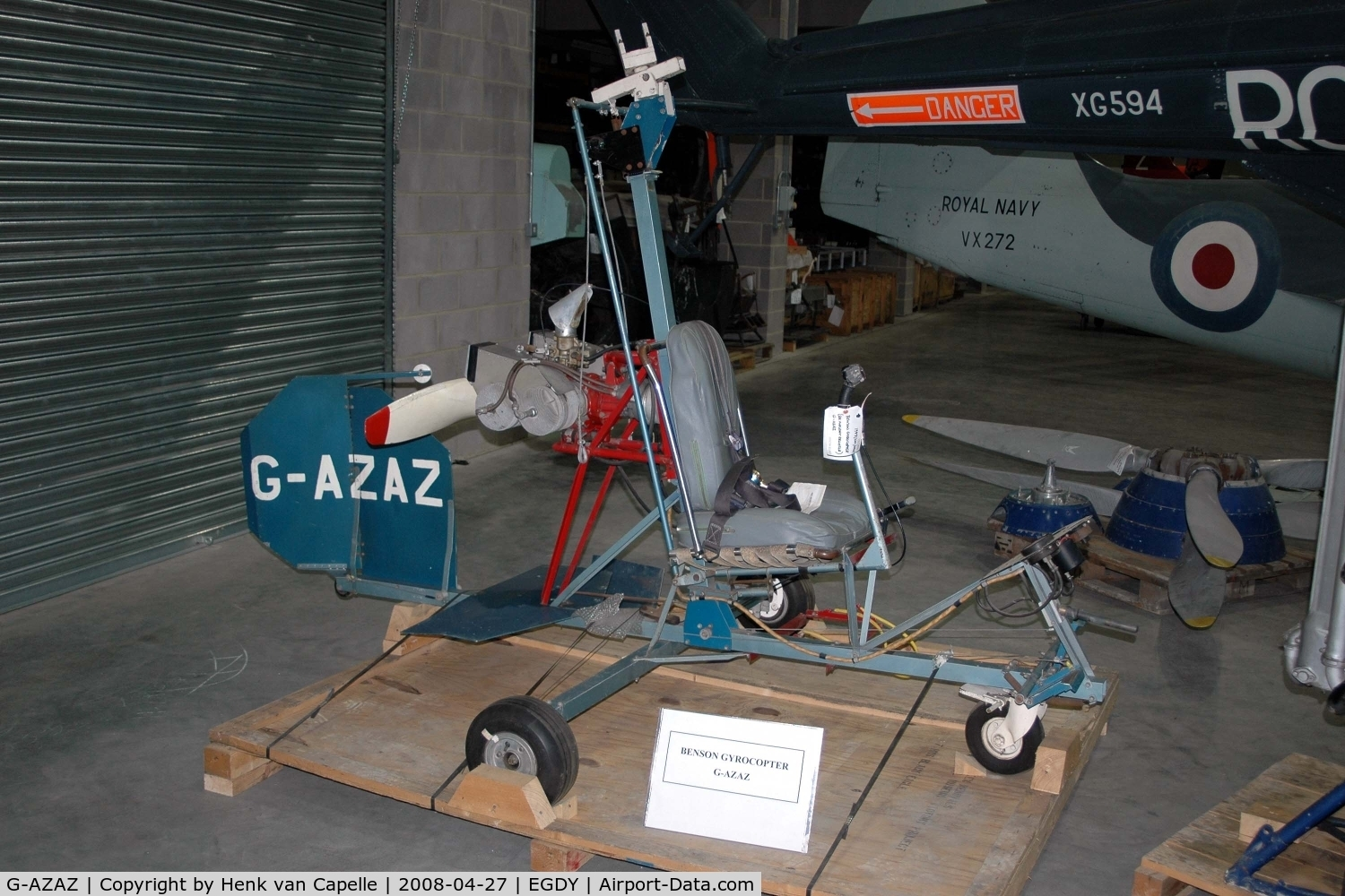 G-AZAZ, Bensen B-8M Gyrocopter C/N RNEC1, Benson gyrocopter in the Fleet Air Arm Museum's Cobham Hall.