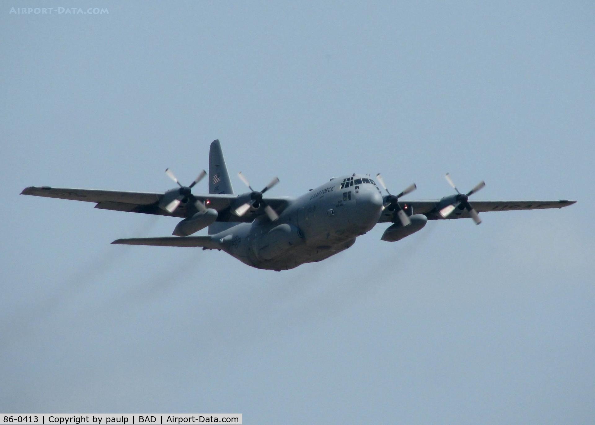86-0413, 1986 Lockheed C-130H Hercules C/N 382-5100, Off of Rwy 15 at Barksdale Air Force Base.