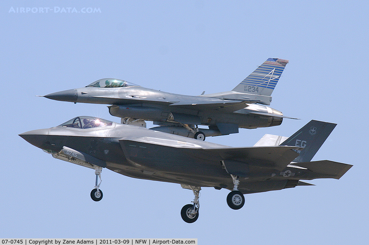 07-0745, 2010 Lockheed Martin F-35A Lightning II C/N AF-07, F-35A 07-0745 (AF-07) along with F-16C 84-1234 chase plane, landing at NASJRB Fort Worth