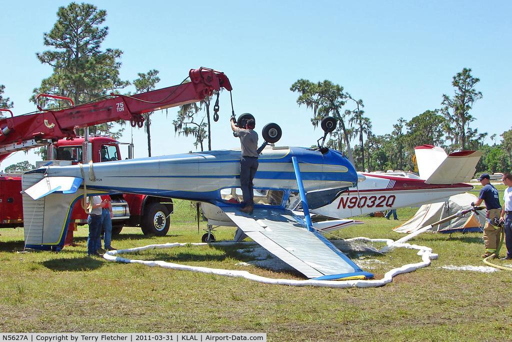 N5627A, 1956 Cessna 172 Skyhawk C/N 28227, 1956 Cessna 172, c/n: 28227 storm damaged in the Camping area at 2011 Sun n Fun
