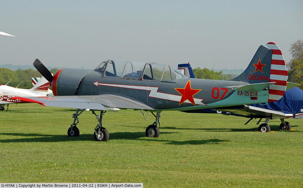 G-HYAK, 1990 Bacau Yak-52 C/N 9011107, SHOT AT HEADCORN