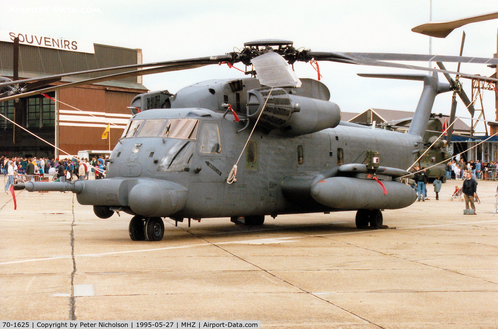 70-1625, 1970 Sikorsky MH-53J Pave Low III C/N 65-335, Pave Low III of 21st Special Operations Squadron on display at the 1995 RAF Mildenhall Air Fete.