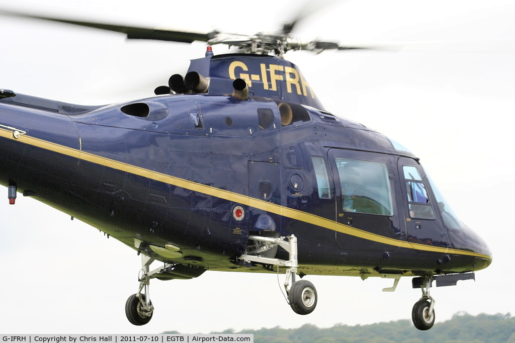 G-IFRH, 1990 Agusta A-109C C/N 7619, being used for ferrying race fans to the British F1 Grand Prix at Silverstone