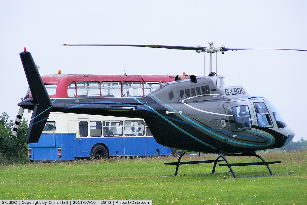 G-LBDC, 1984 Bell 206B JetRanger III C/N 3806, being used for ferrying race fans to the British F1 Grand Prix at Silverstone