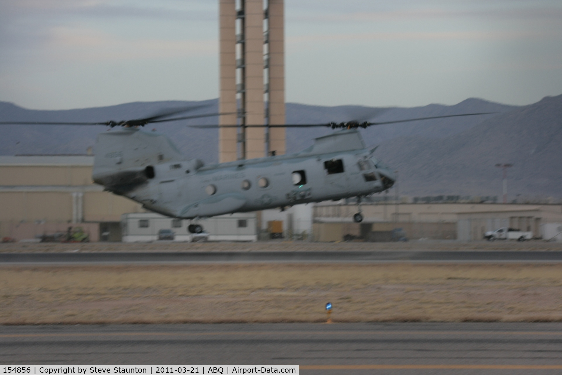 154856, Boeing Vertol CH-46F Sea Knight C/N 2463, Taken at Alburquerque International Sunport Airport, New Mexico in March 2011 whilst on an Aeroprint Aviation tour