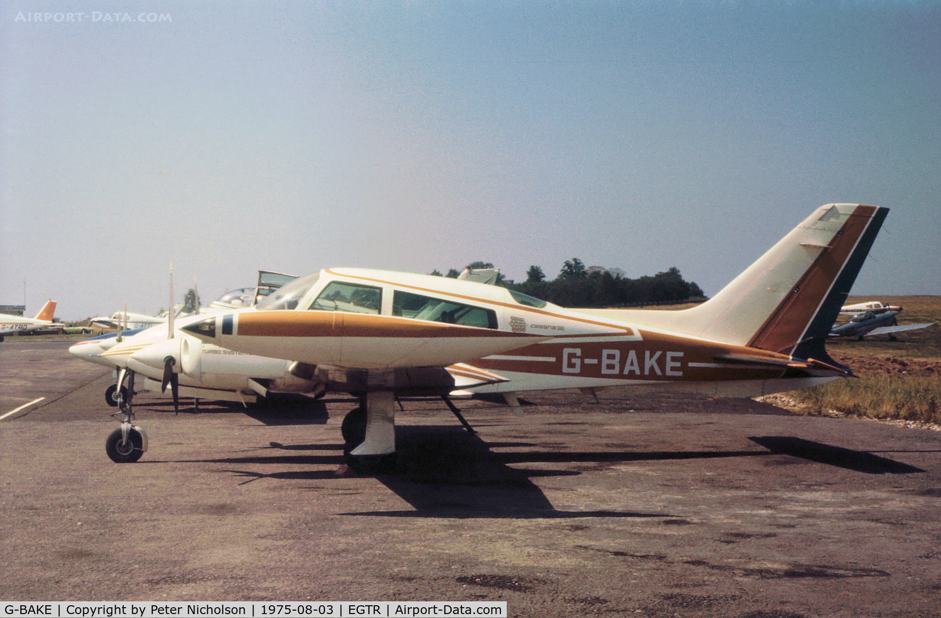 G-BAKE, 1972 Cessna T310Q C/N 310Q-0641, Cessna T310Q resident at Elstree as seen in the Summer of 1975.