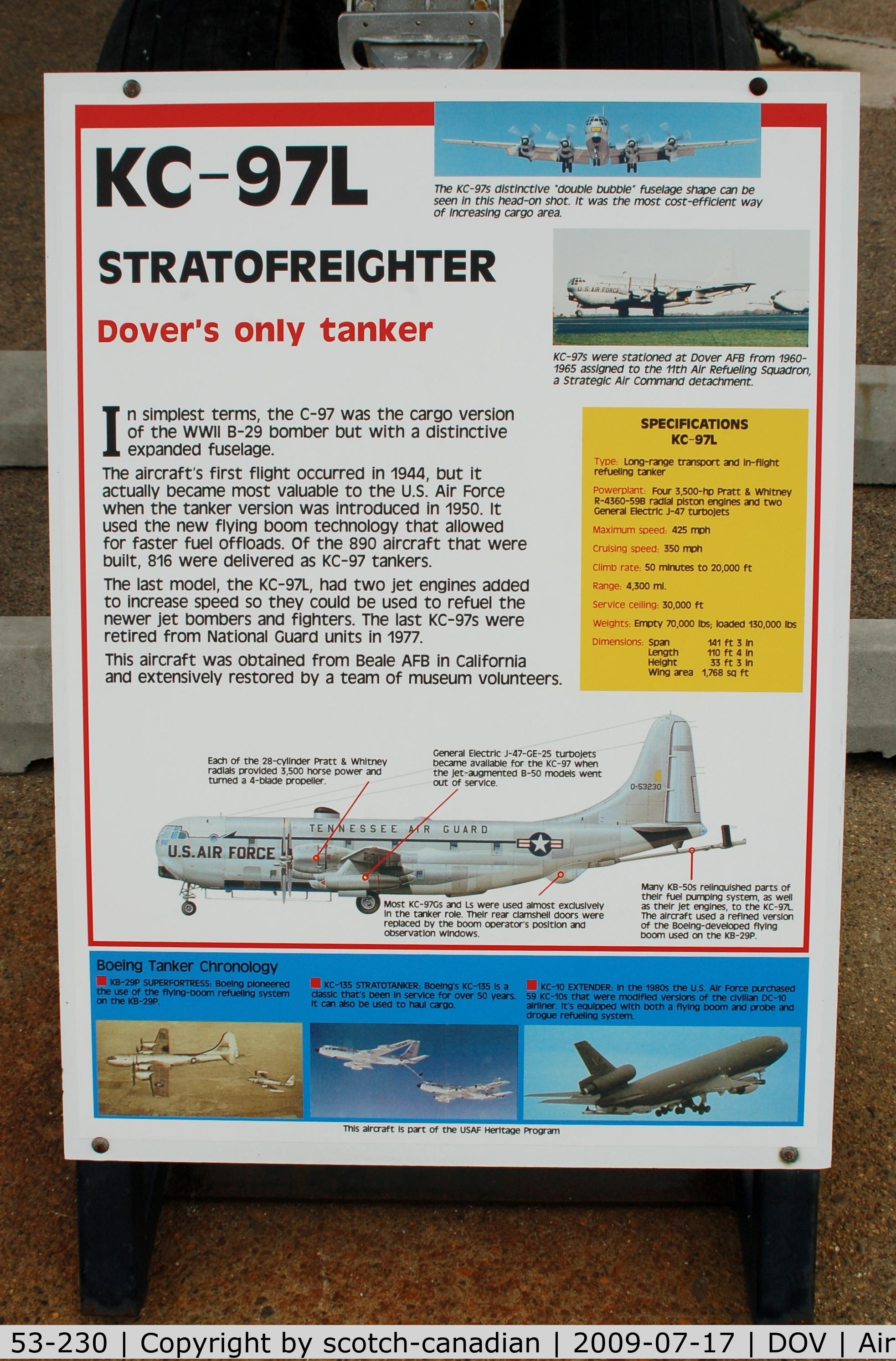 53-230, Boeing KC-97L Stratofreighter C/N 17012, Information Plaque for the Boeing KC-97L Stratotanker at the Air Mobility Command Museum, Dover AFB, DE