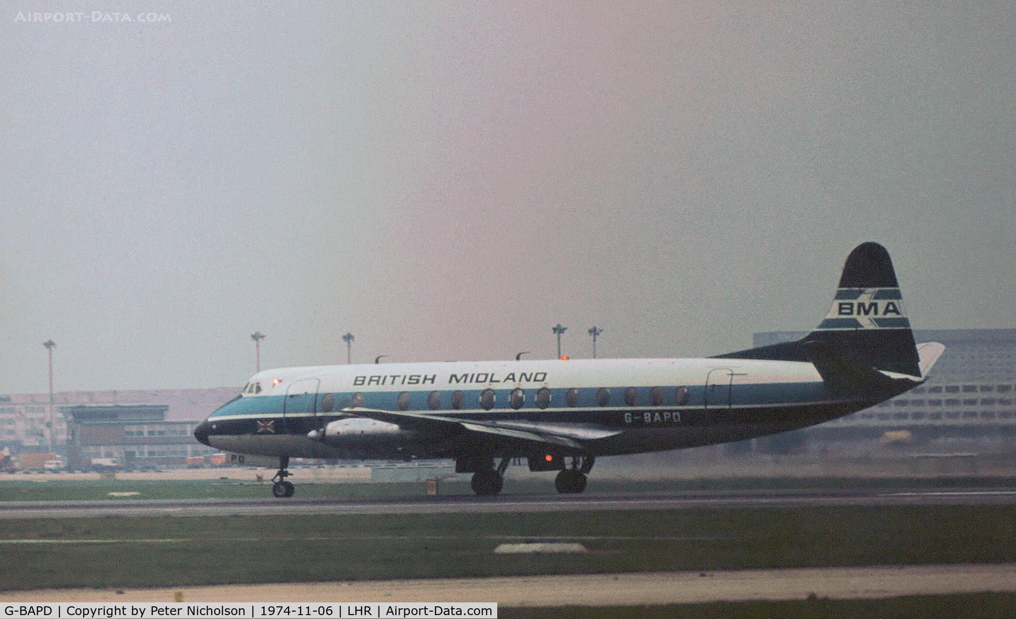 G-BAPD, 1958 Vickers Viscount 814 C/N 340, Viscount 814 of British Midland Airways preparing for take-off on Runway 27L at Heathrow in November 1974.