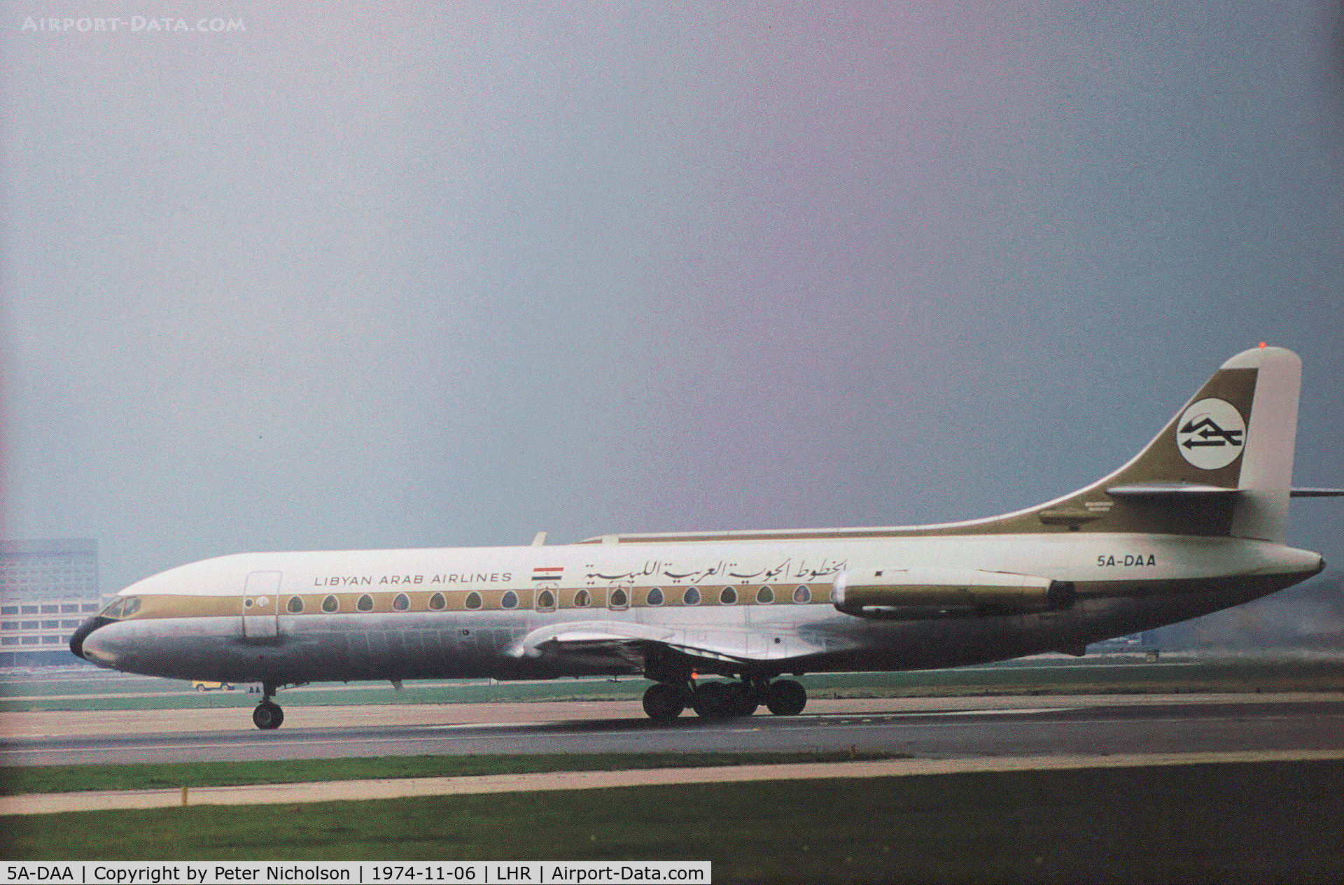 5A-DAA, 1963 Sud Aviation SE-210 Caravelle VI-R C/N 158, Caravelle VI-R of Libyan Arab Airlines preparing for take-off on Runway 27L at Heathrow in November 1974.