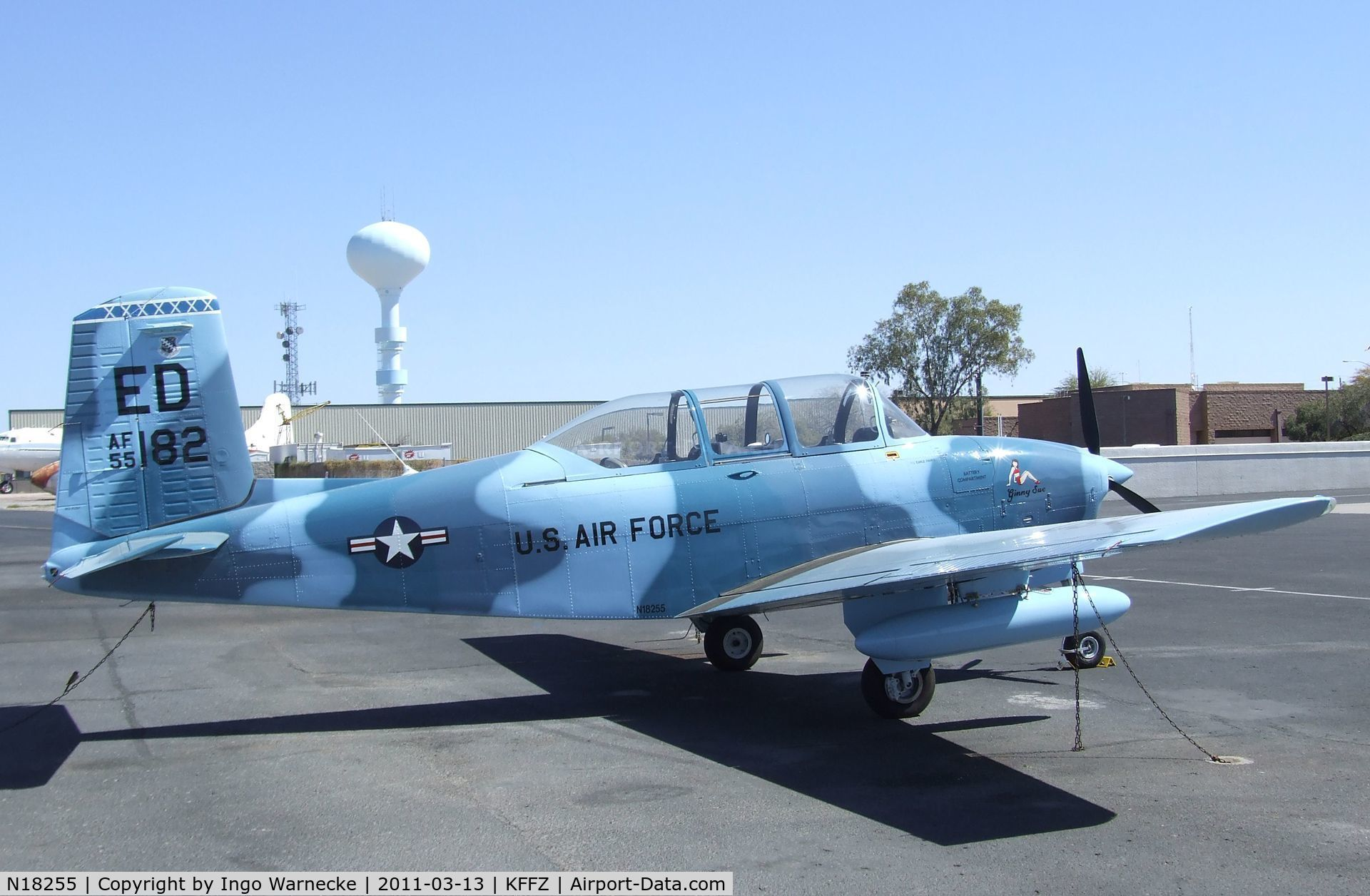 N18255, 1955 Beech A45 C/N G-739, Beechcraft A45 (T-34 Mentor) outside the CAF Museum at Falcon Field, Mesa AZ