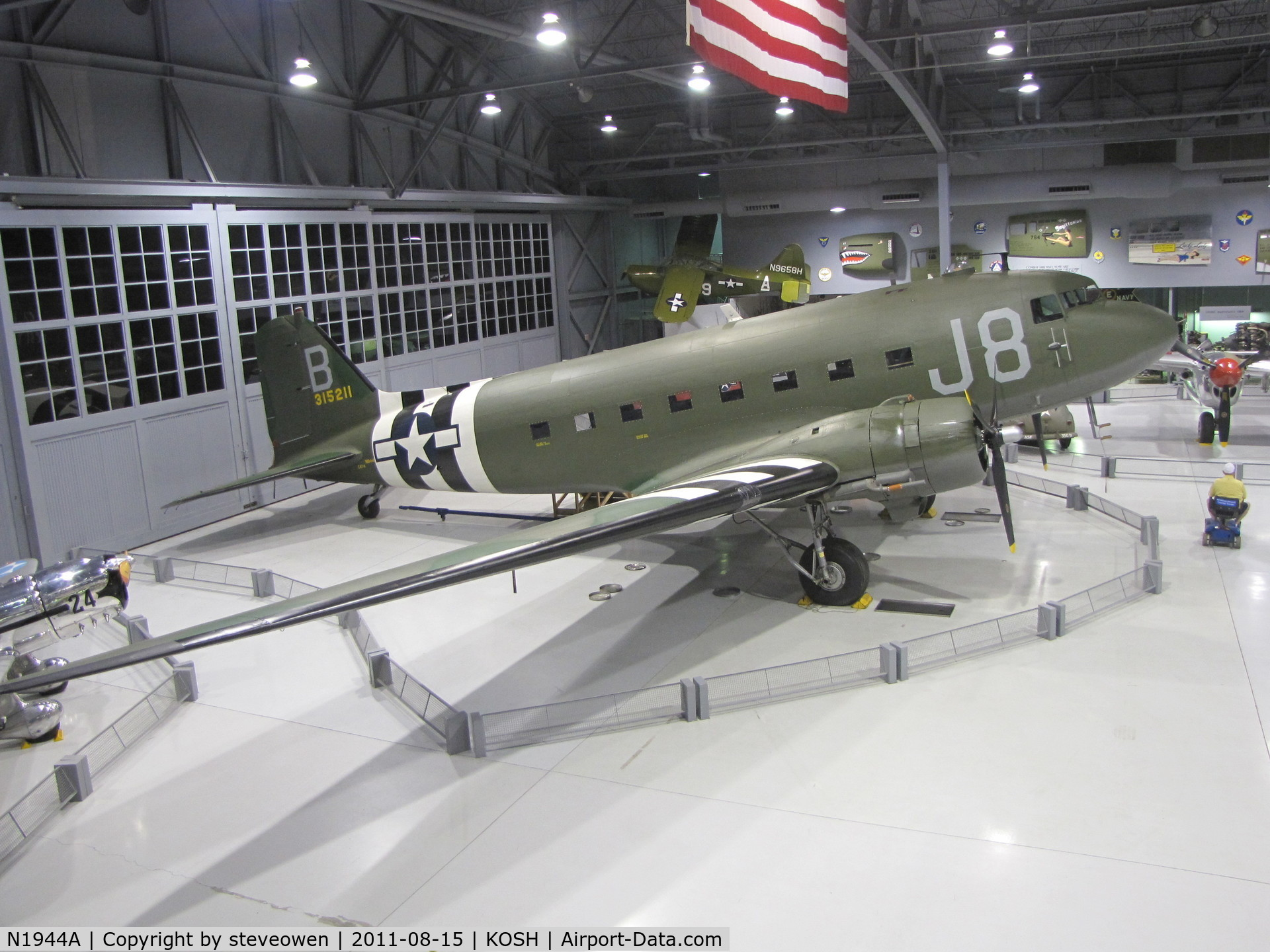 N1944A, 1944 Douglas DC3C-S1C3G C/N 19677, Kermit Weeks Combat veteran C-47 safe in the EAA Museum Hangar @KOSH after it's trans Atlantic flight