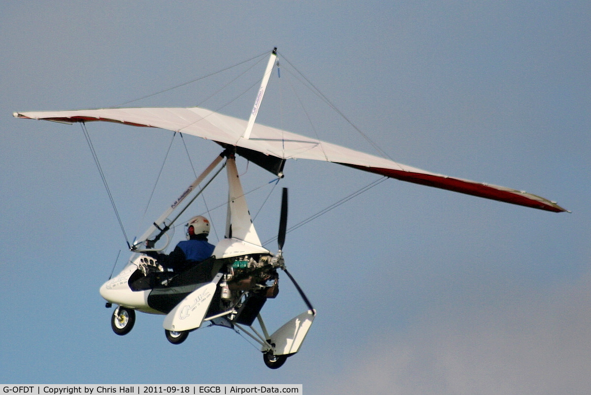 G-OFDT, 2007 P&M Aviation Pegasus Quik C/N 8320, resident flexwing departing from Barton