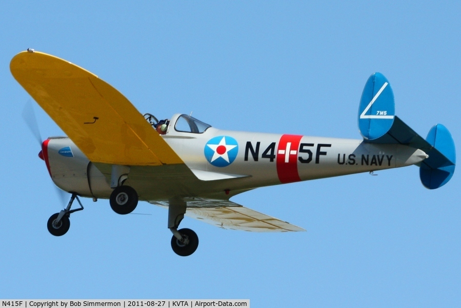 N415F, 1946 Engineering & Research ERCOUPE 415-C C/N 4026, Departing Newark, Ohio