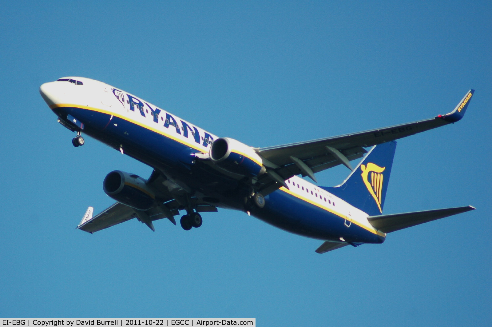 EI-EBG, 2009 Boeing 737-8AS C/N 37525, Ryanair Boeing 737-8AS(WL) on approach Manchester Airport.