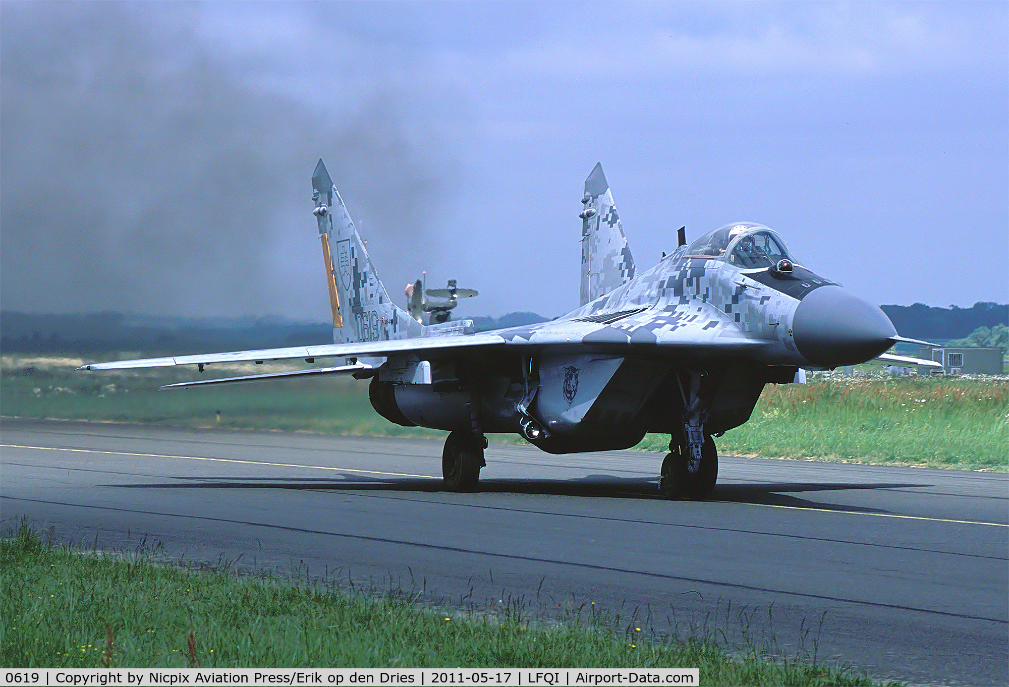0619, Mikoyan-Gurevich MiG-29AS C/N 2960535406/4713, Slowak ia AF MiG-29AS Fulkcrum showing its' digital camouflage scheme, taxies out during the NTM-2011./