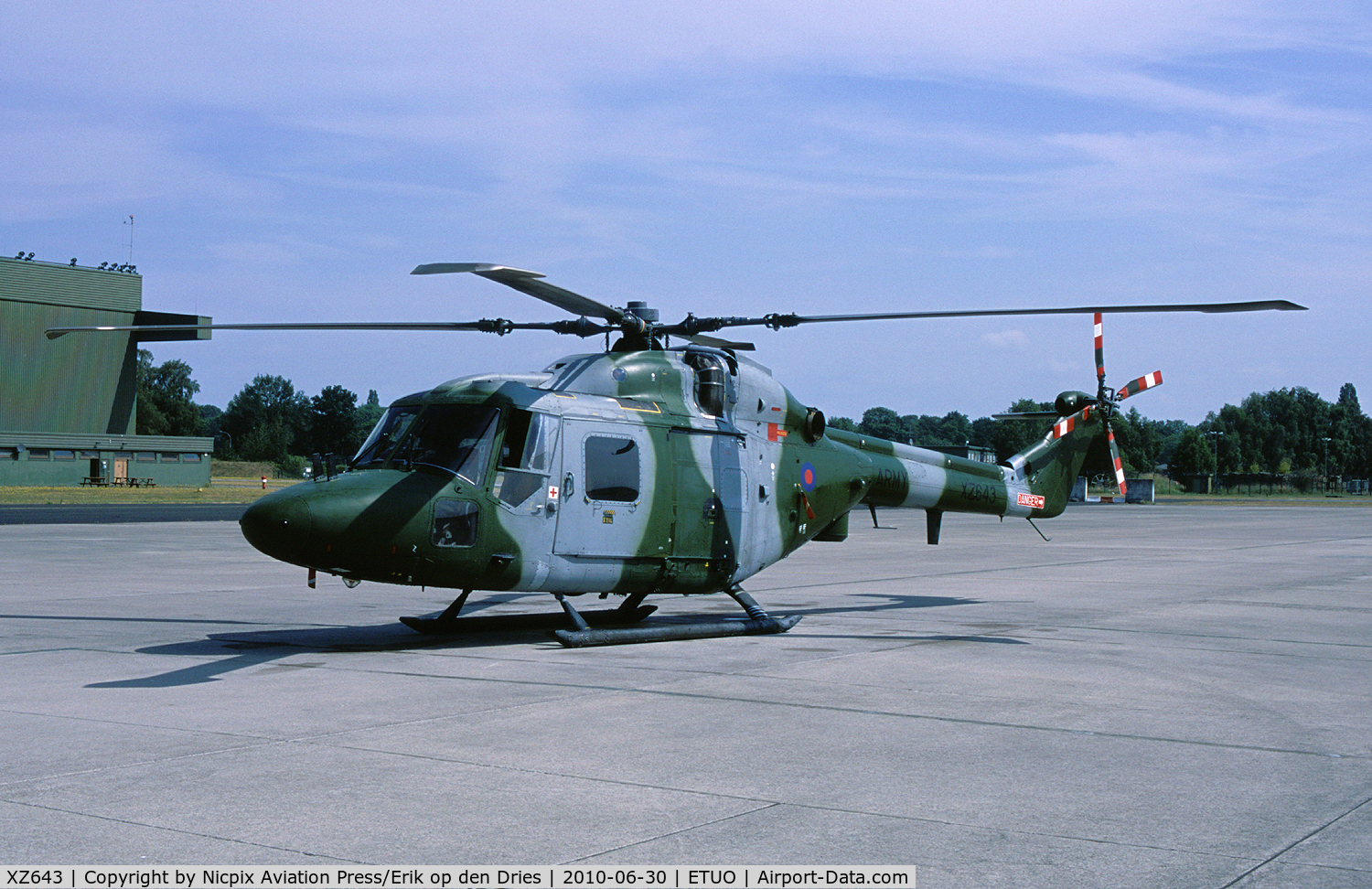 XZ643, 1980 Westland Lynx AH.7 C/N 178, Gutersloh, Germany, based 1 Regiment Army Air Corps operates the Lynx AH.7. XZ643 is seen here on the ramp of its' homebase.