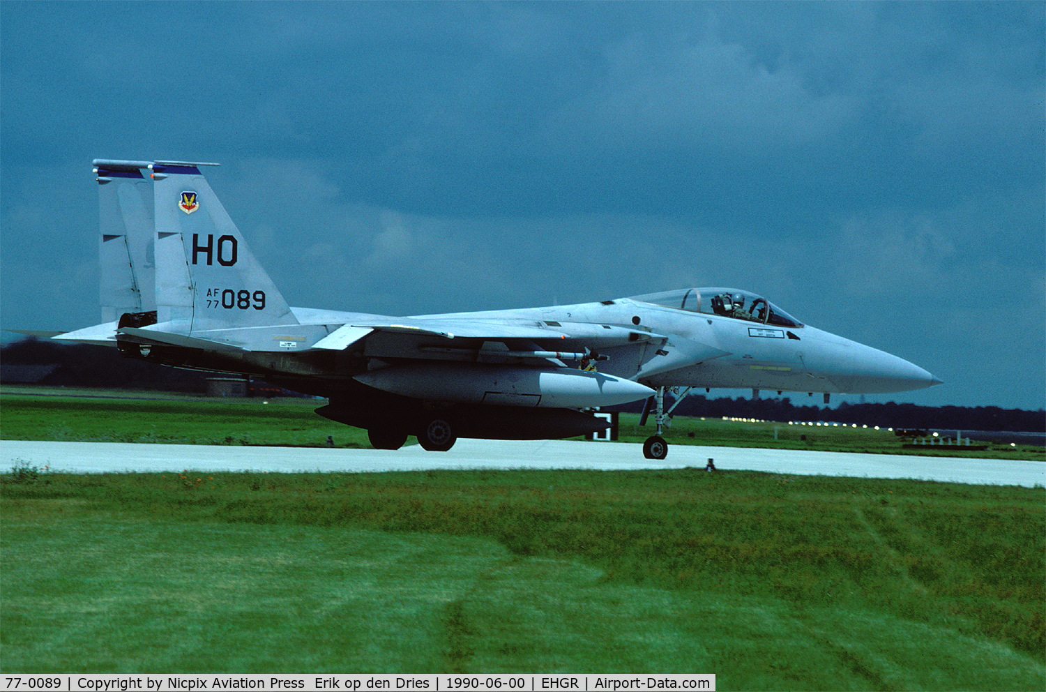 77-0089, 1978 McDonnell Douglas F-15A Eagle C/N 0370/A301, 49 TFW F-15A 77-0089 seen here on deployment at Gilze-Rijen AB, The Netherlands in 1990, used to be a 32 TFS aircraft of Soesterberg AB.