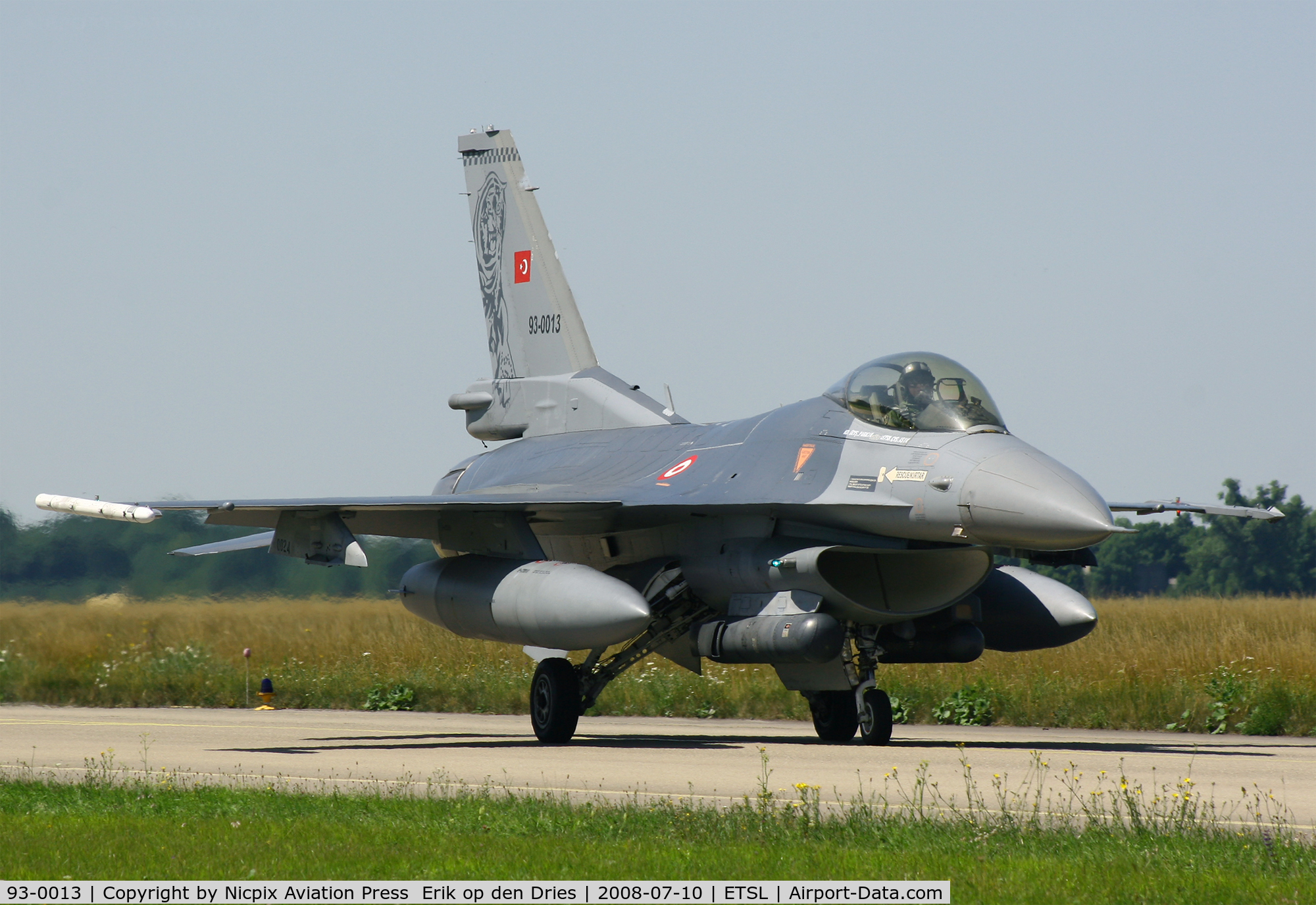 93-0013, Lockheed F-16C Fighting Falcon C/N 4R-135, 93-0013 is seen here on the taxitrack of Lechfeld AB during the exercise ELITE '08.
