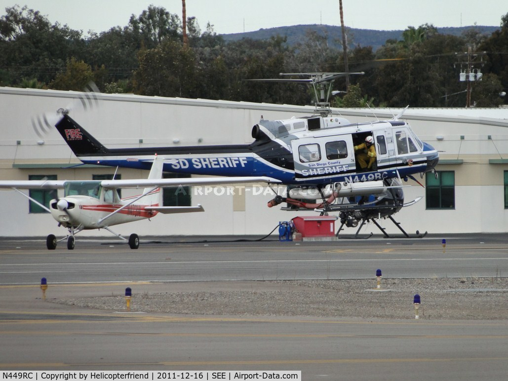 N449RC, 1973 Bell 205A-1 C/N 30121, Air taxiing to runway for departure