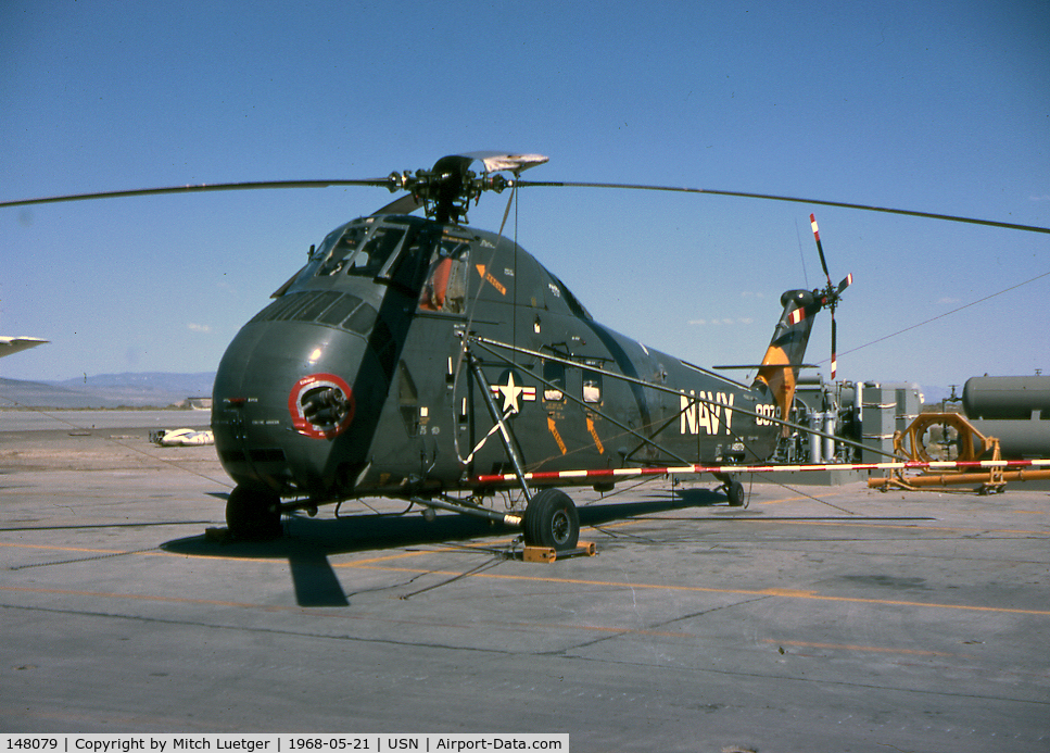 148079, Sikorsky UH-34D Seahorse C/N 58-1193, This A/C was used as one of our SAR Helos at NAAS Fallon, Nev. in the late 60'. This photo was taken in May of 1968. The movie