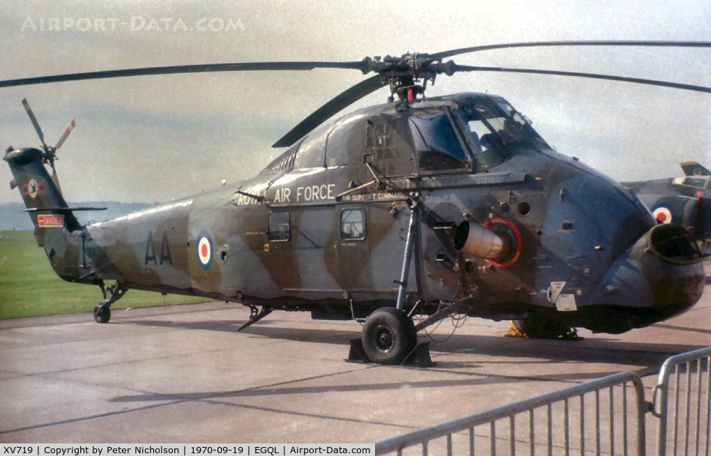 XV719, 1967 Westland Wessex HC.2 C/N WA614, Wessex HC.2 of 72 Squadron on display at the 1970 RAF Leuchars Airshow.