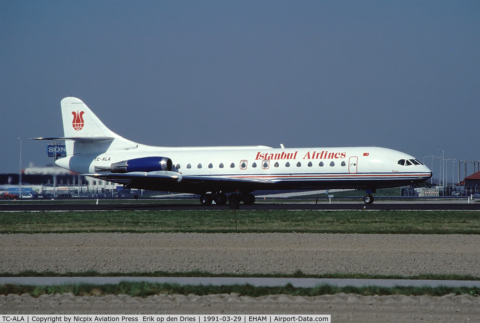 TC-ALA, 1969 Sud Aviation SE-210 Caravelle 10R C/N 250, Istanbul Airlines Caravelle 10B1R on the runway of Schiphol Apt.