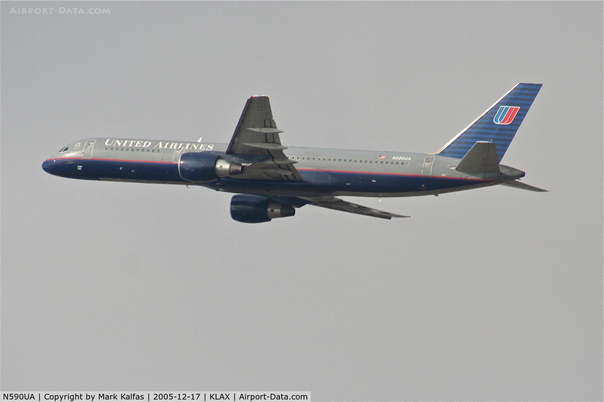 N590UA, 1997 Boeing 757-222 C/N 28708, United Airlines Boeing 757-222, N590UA departing RWY 25R LAX.