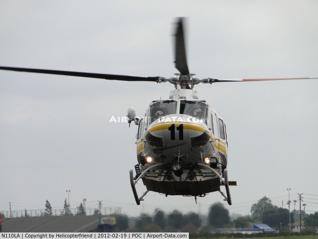 N110LA, 2005 Bell 412EP C/N 36392, Flaring to slow down to enter the LA County Air Ops helipad area