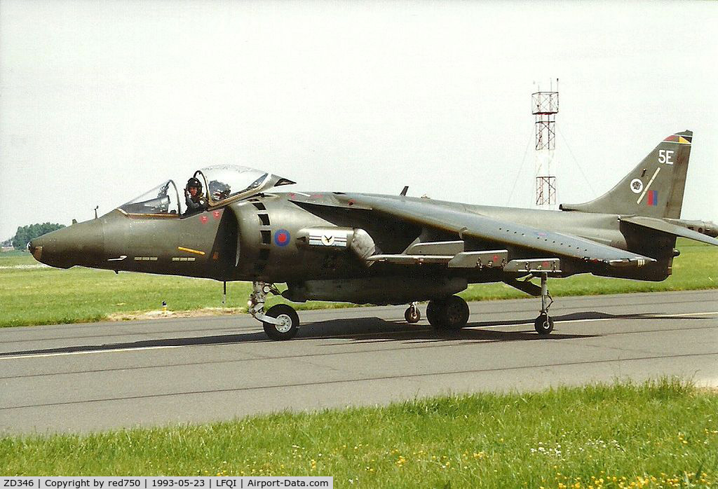 ZD346, 1988 British Aerospace Harrier GR.5 C/N P13, Photograph by Edwin van Opstal with permission. Scanned from a color print.