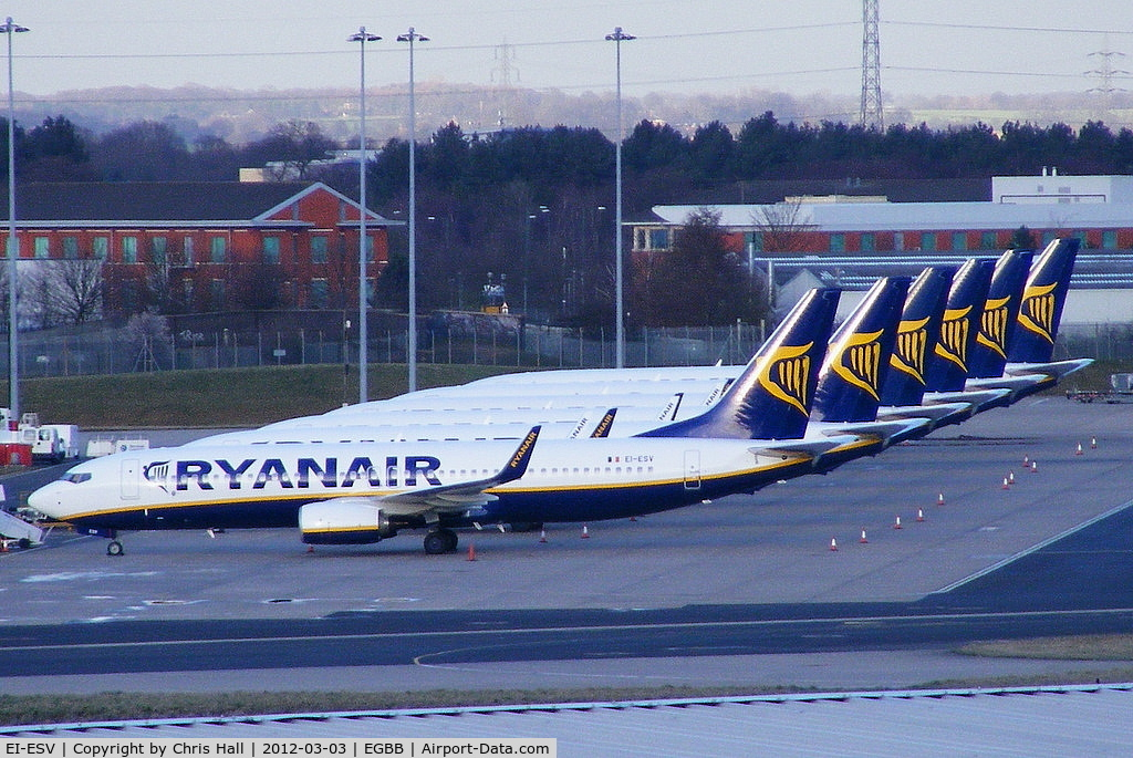 EI-ESV, 2011 Boeing 737-8AS C/N 34993, EI-ESV heads the line up of stored Ryanair B737's at Birmingham