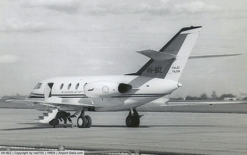 VH-BIZ, 1967 Dassault Falcon 20CC C/N 073, This image was scanned from a b&w print taken some time in the early 1960's at Essendon. This was the first business jet in Australia and the only example of the Falcon 20CC built, with dual wheels and low pressure tyres for use on unimproved strips.