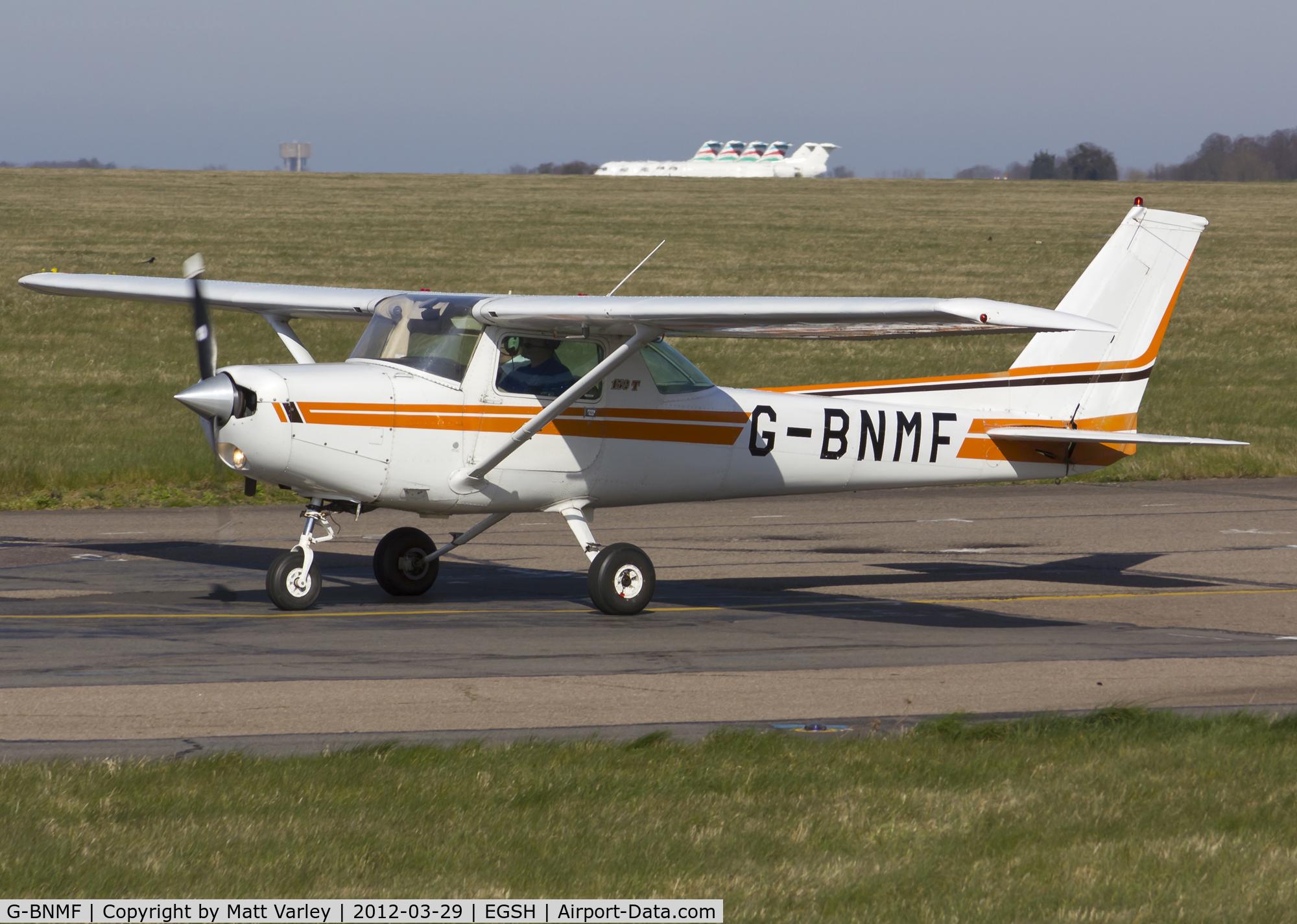 G-BNMF, 1982 Cessna 152 C/N 152-85563, Arriving at SaxonAir.