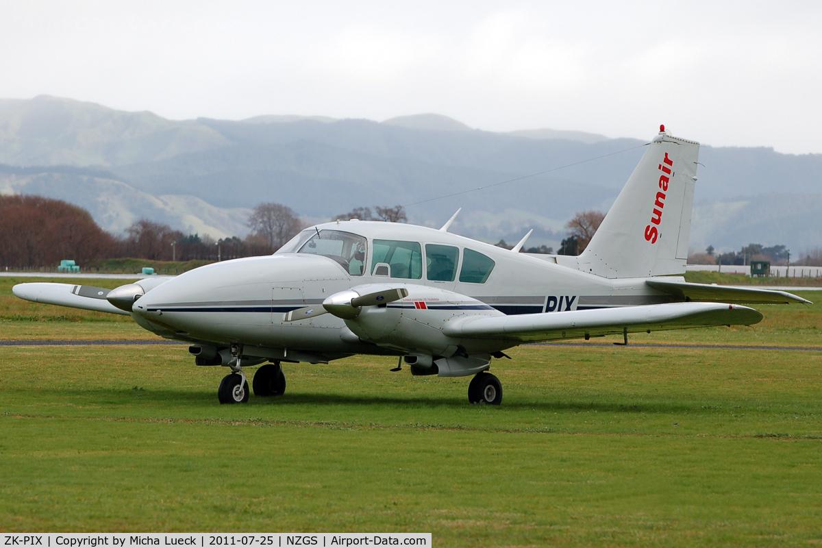 ZK-PIX, Piper PA-23-250 Aztec C/N 27-4738, At Gisborne