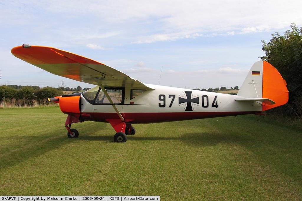 G-APVF, 1959 Putzer Elster B C/N 006, Putzer Elster B, Fishburn Airfield, September 2005.