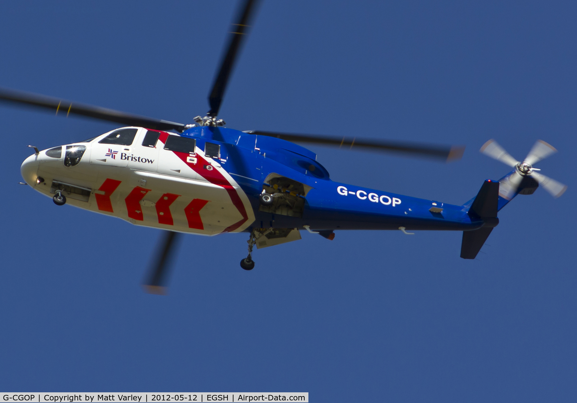 G-CGOP, 2010 Sikorsky S-76C C/N 760778, Bristow 521 arriving at EGSH from humberside.