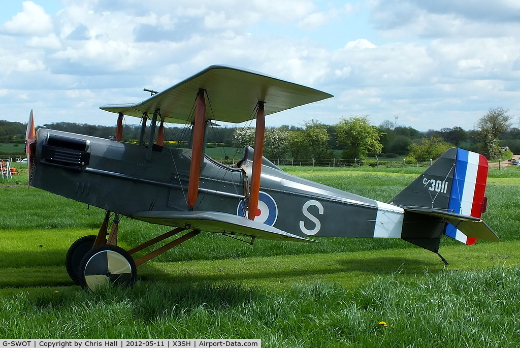 G-SWOT, 1990 Currie Super Wot (SE-5A Replica) C/N PFA 3011, at Streethay Farm Airfield, visiting from nearby Otherton