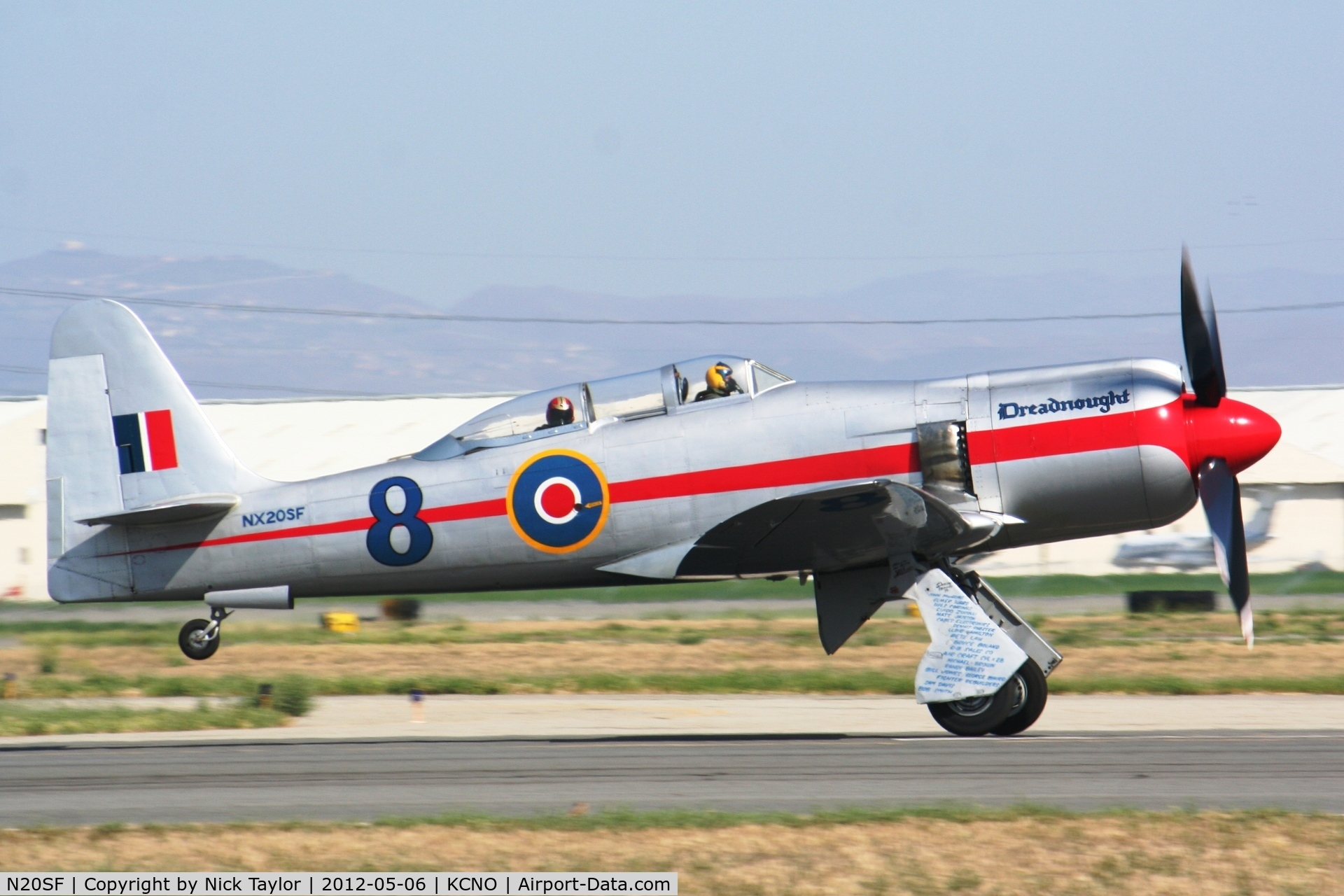 N20SF, 1956 Hawker Sea Fury T.20 C/N ES.9505, Dreadnought departing for home